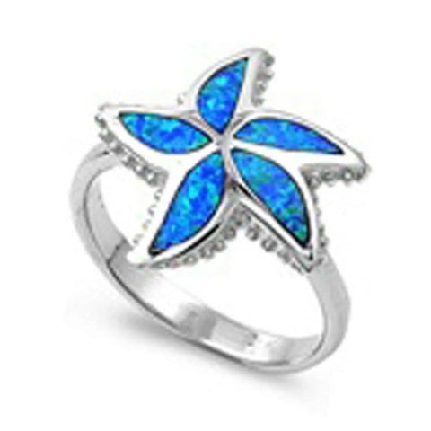 Image of Rings $52.27 Blue Lab Opal in a Starfish Pattern in a Sterling Silver Ring 50-100 badge-toprated blue opal rings