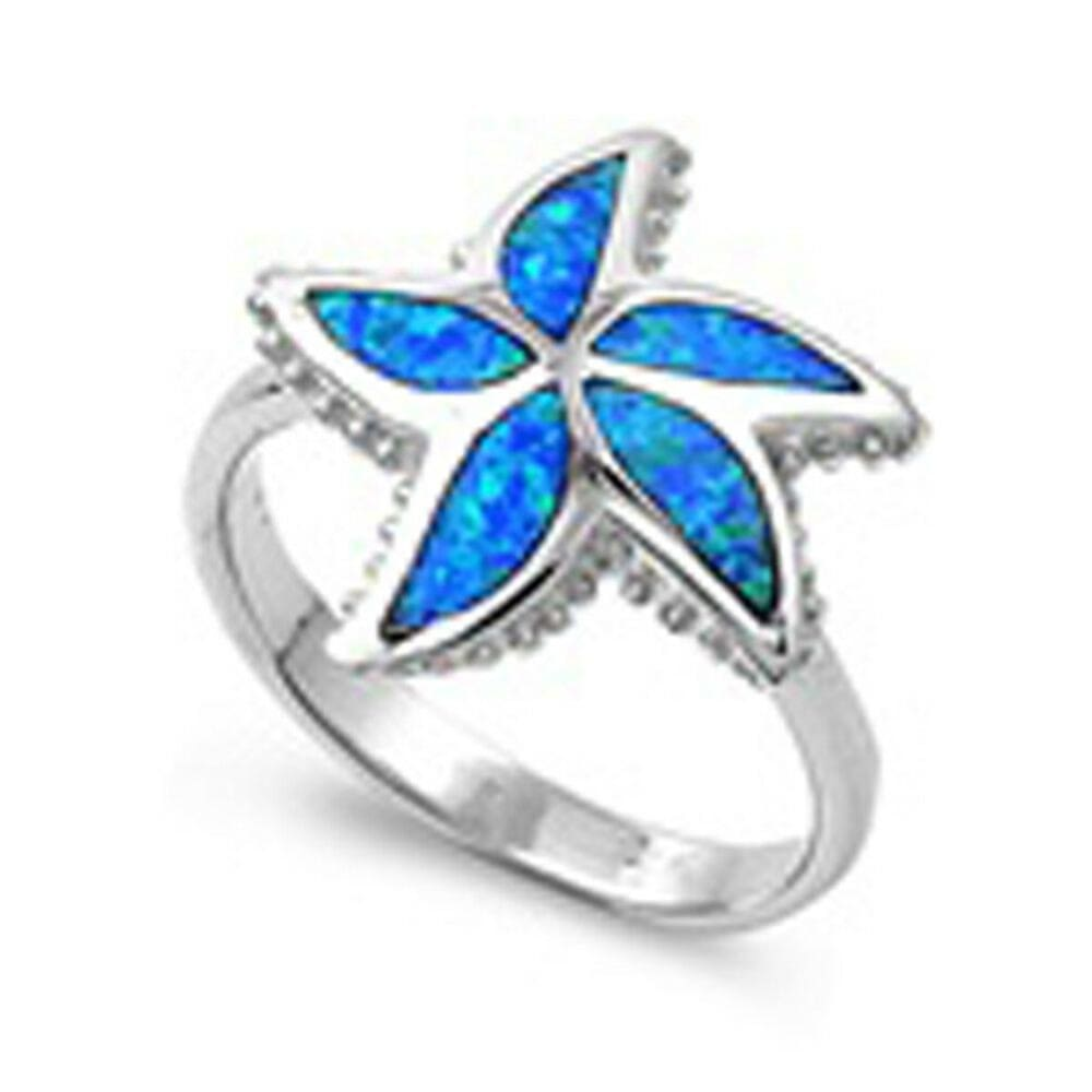Rings $52.27 Blue Lab Opal in a Starfish Pattern in a Sterling Silver Ring blue opal star sterling-silver