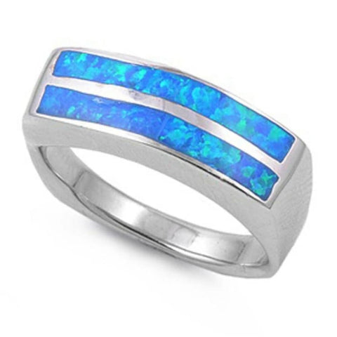 Image of Rings $55.42 Blue Lab Opal in a Stripe Pattern Thumb Ring Wide Sterling Silver Band 50-100 badge-toprated blue opal rings