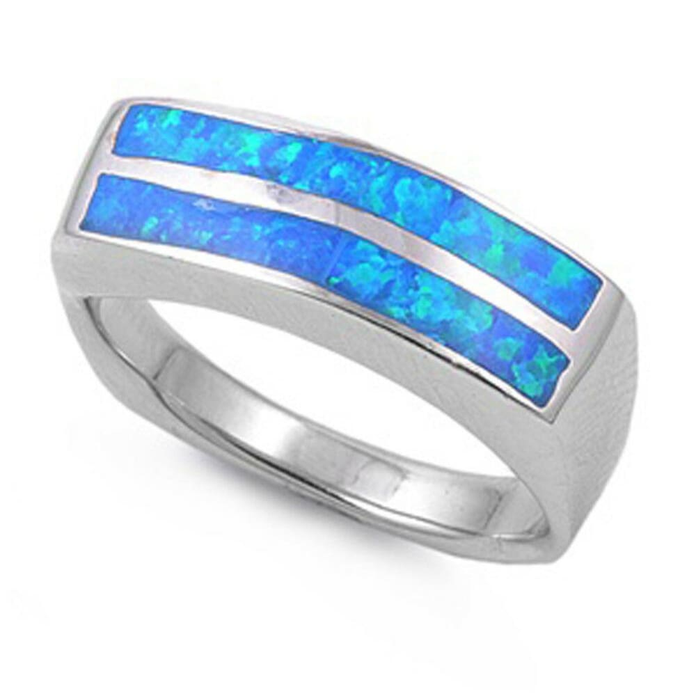 Rings $55.42 Blue Lab Opal in a Stripe Pattern Thumb Ring Wide Sterling Silver Band 50-100 badge-performance badge-toprated