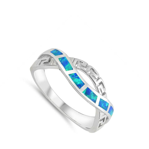 Image of Rings $30.22 Blue Lab Opal in an Infinity Greek Key Design Twist Sterling Silver Ring 25-50 badge-performance badge-toprated