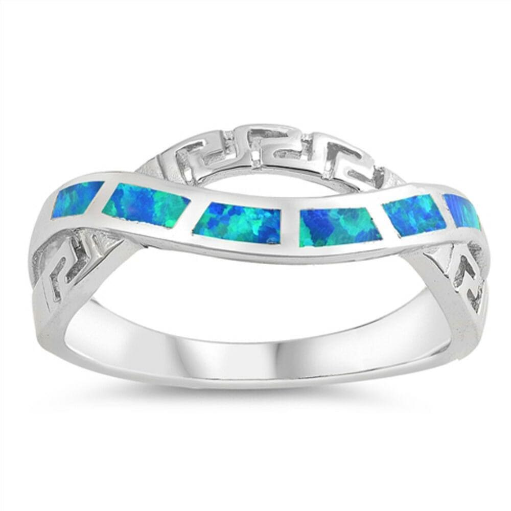 Rings $30.22 Blue Lab Opal in an Infinity Greek Key Design Twist Sterling Silver Ring 25-50 badge-performance badge-toprated