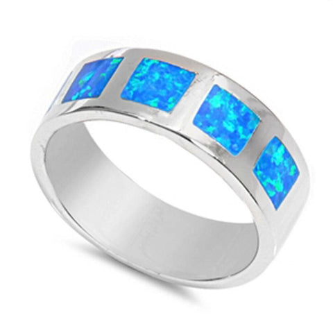 Image of Rings $52.06 Blue Lab Opal in Square Patterns Inlay Set in Sterling Silver Wide Band 50-100 badge-performance badge-toprated