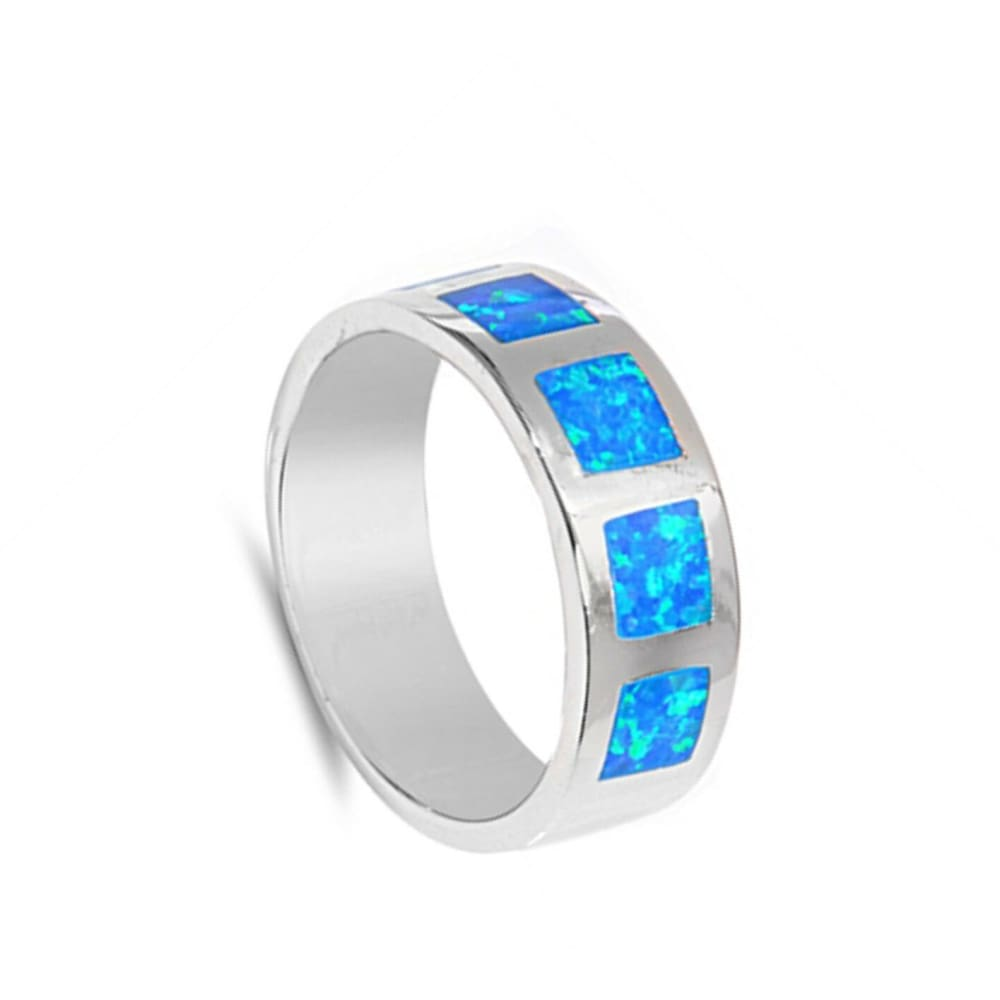 Rings $52.06 Blue Lab Opal in Square Patterns Inlay Set in Sterling Silver Wide Band 50-100 badge-performance badge-toprated