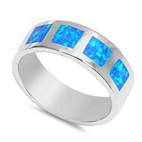 Image of Rings $52.06 Blue Lab Opal in Square Patterns Inlay Set in Sterling Silver Wide Band 50-100 badge-toprated blue opal rings