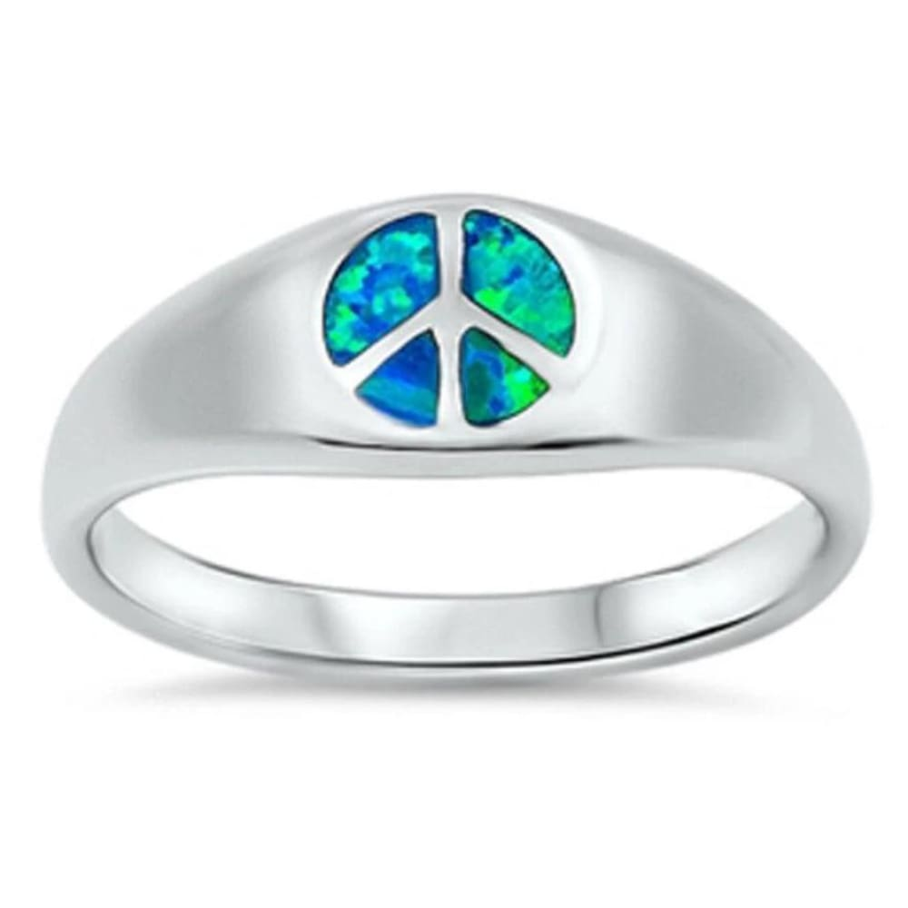 Rings $38.41 Blue Lab Opal Peace Symbol Design Set in a Sterling Silver Band 25-50 badge-toprated blue opal rings