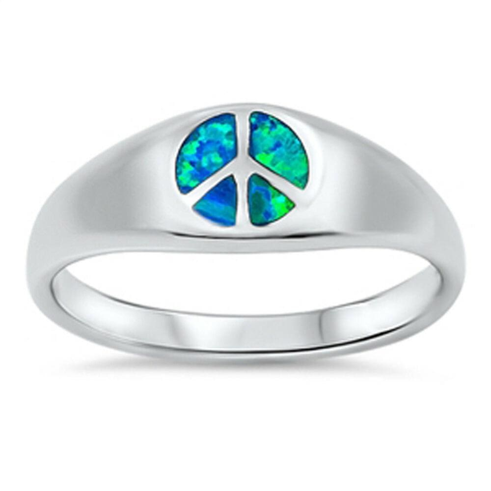 Rings $38.41 Blue Lab Opal Peace Symbol Design Set in a Sterling Silver Band blue opal