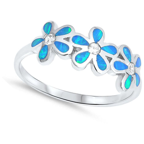 Image of Rings $37.15 Blue Lab Opal Plumeria Flowers Cut and Round CZ Stones Sterling Silver Ring blue clear cubic-zirconia cz opal