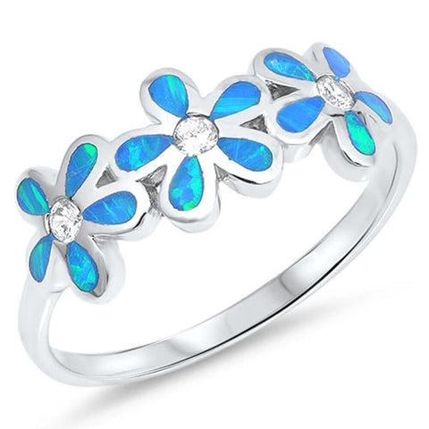Rings $37.15 Blue Lab Opal Plumeria Flowers Cut and Round CZ Stones Sterling Silver Ring blue clear cubic-zirconia cz opal