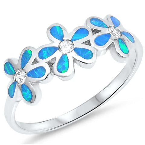 Image of Rings $37.15 Blue Lab Opal Plumeria Flowers Cut and Round CZ Stones Sterling Silver Ring 25-50 badge-toprated blue clear cubic-zirconia