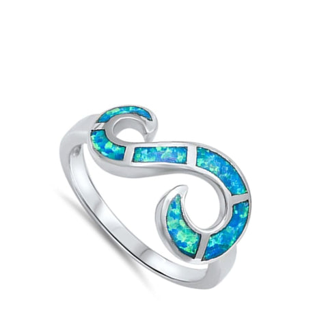 Image of Rings $32.53 Blue Lab Opal Set in an Open Infinity Swirl Design Ring blue mosaic opal