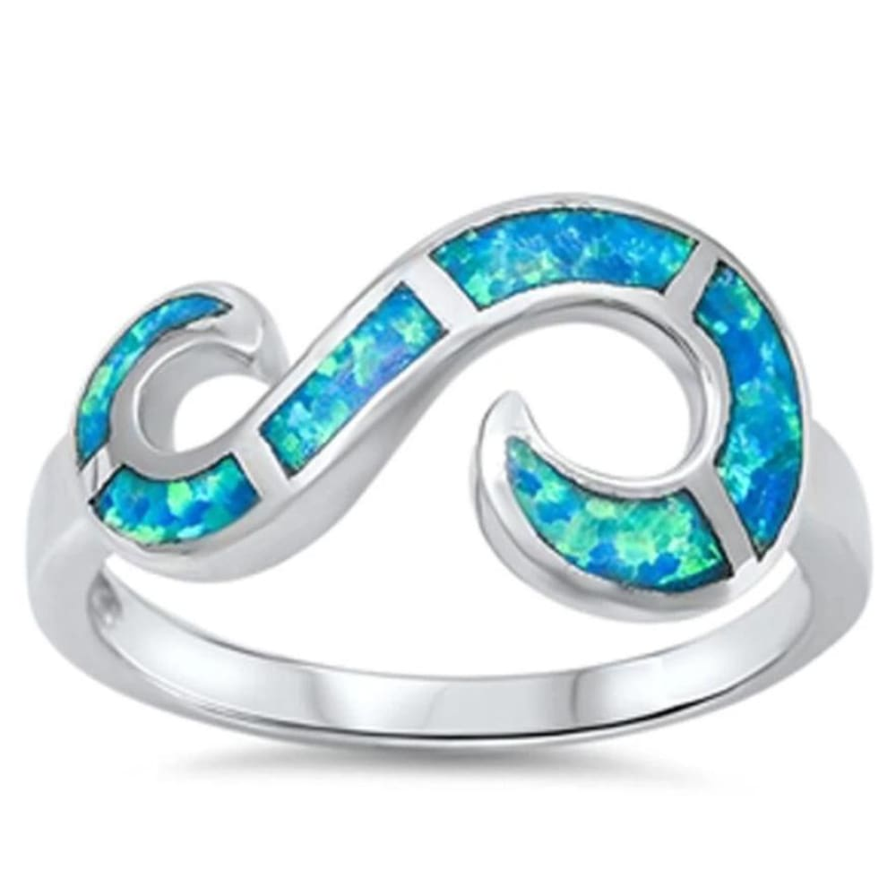 Rings $32.53 Blue Lab Opal Set in an Open Infinity Swirl Design Ring 25-50 badge-toprated blue mosaic opal