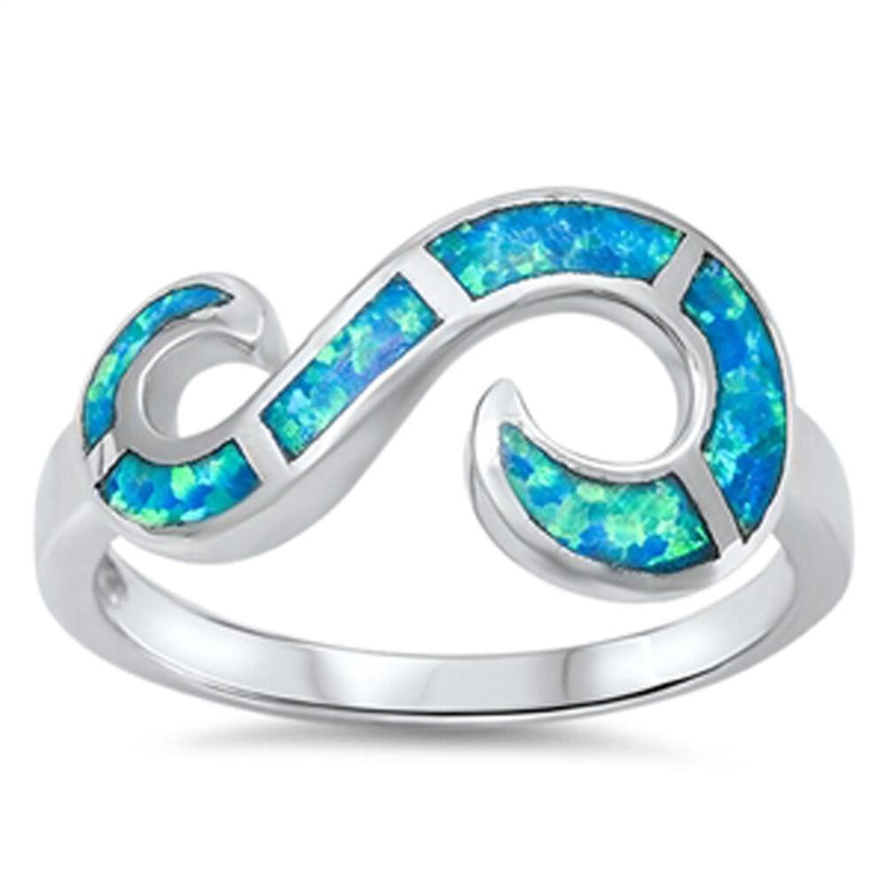 Rings $32.53 Blue Lab Opal Set in an Open Infinity Swirl Design Ring blue mosaic opal