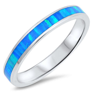 Blue Lab Opal Smooth Inlay in Sterling Silver Stackable Wedding Band