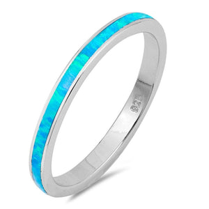 Blue Lab Opal Stackable Wedding Band