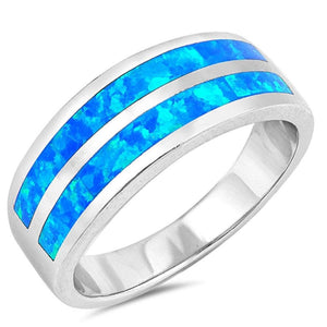 Blue Lab Opal Stripe Smooth Inlay Wedding Ring