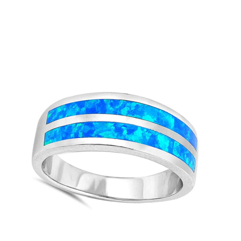 Rings $50.17 Blue Lab Opal Stripe Smooth Inlay Wedding Ring blue opal wedding