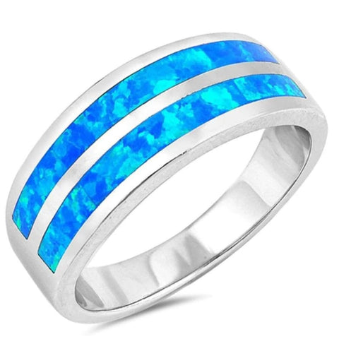 Image of Rings $50.17 Blue Lab Opal Stripe Smooth Inlay Wedding Ring 50-100 badge-toprated blue opal rings