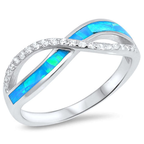 Rings $28.96 Blue Lab Opal with Clear Cubic Zirconia Stones Set in Infinity Twist Sterling Silver Band 25-50 badge-performance