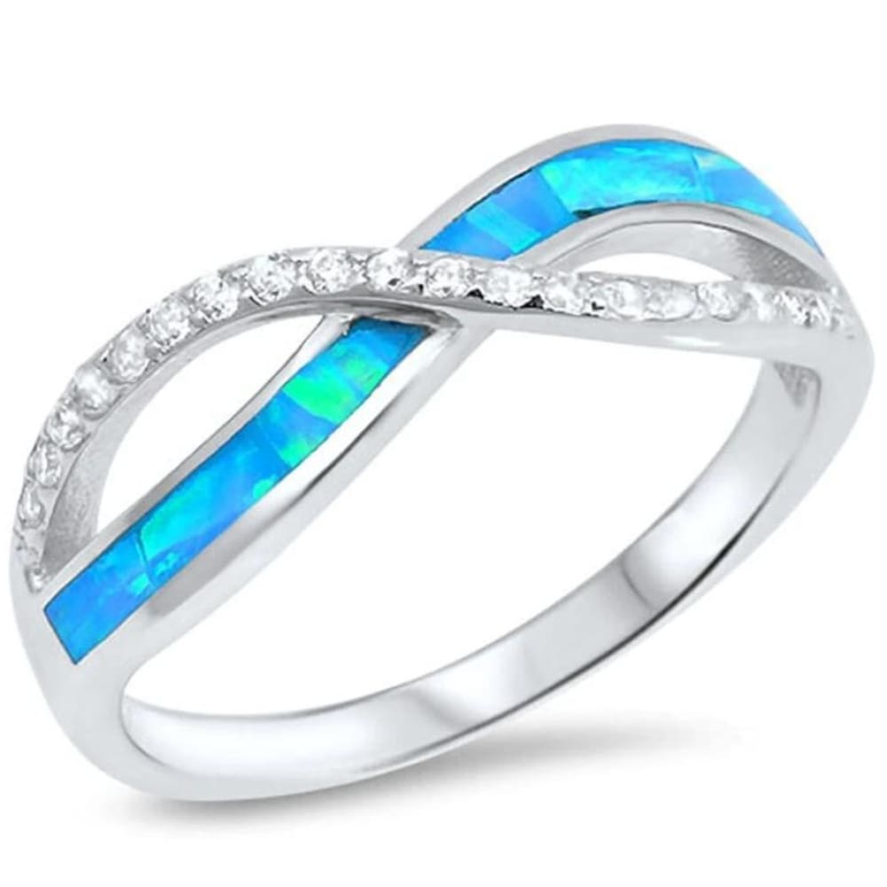 Rings $28.96 Blue Lab Opal with Clear Cubic Zirconia Stones Set in Infinity Twist Sterling Silver Band 25-50 badge-toprated blue clear