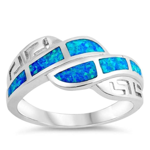 Image of Rings $32.53 Blue Lab Opal with Greek Key Pattern Set in Sterling Silver Ring 25-50 badge-toprated blue greek opal