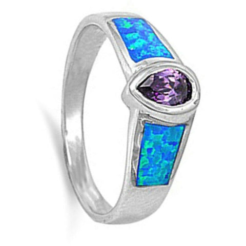 Image of Rings $47.99 Blue Opal and Purple Amethyst Sterling Silver Pear Cut Bezel Ring bezel blue cz opal purple