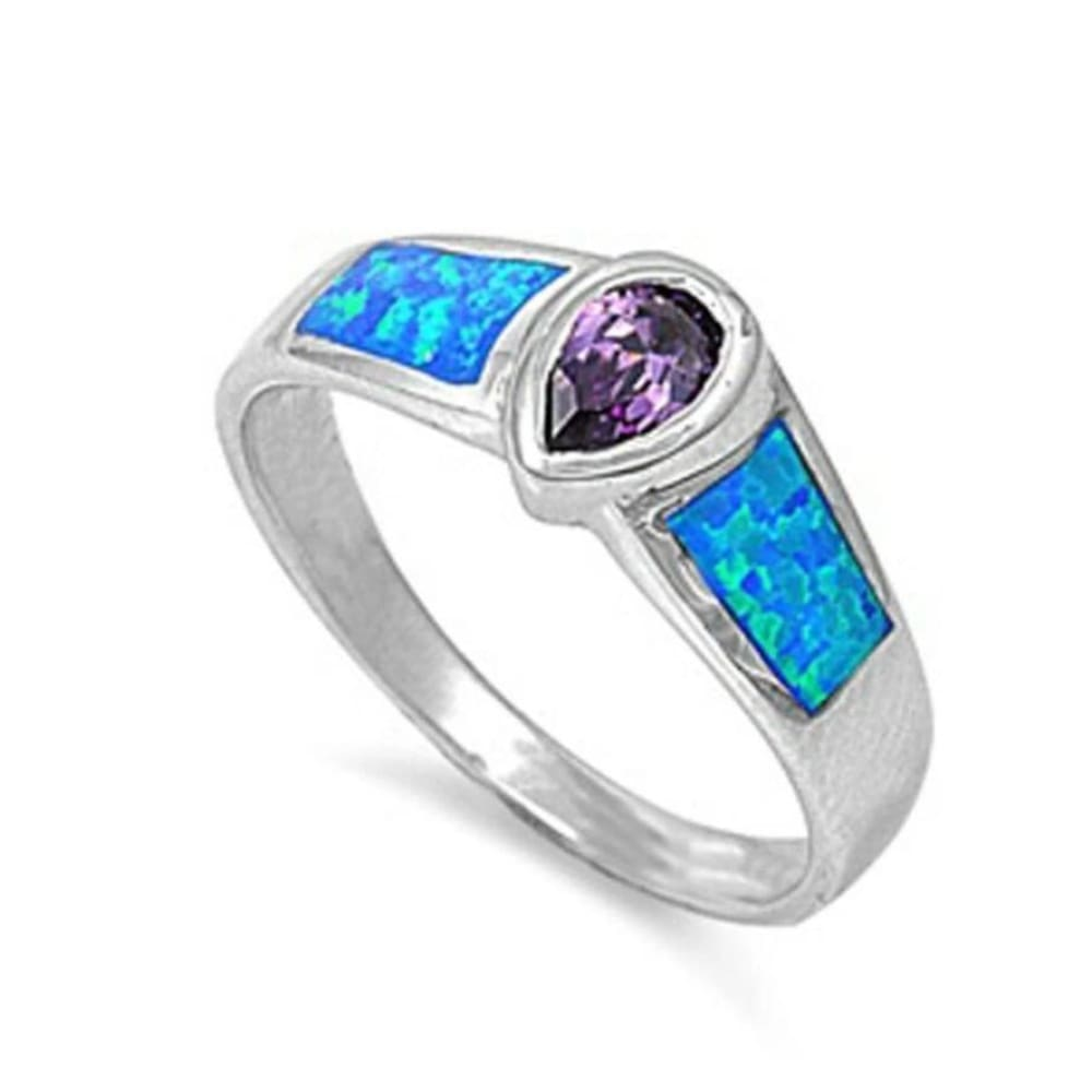 Rings $47.99 Blue Opal and Purple Amethyst Sterling Silver Pear Cut Bezel Ring 25-50 badge-toprated bezel blue cubic-zirconia