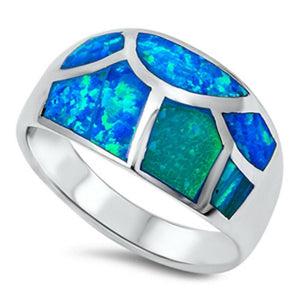Blue Opal in Mosaic Pattern Inlay Thumb Ring