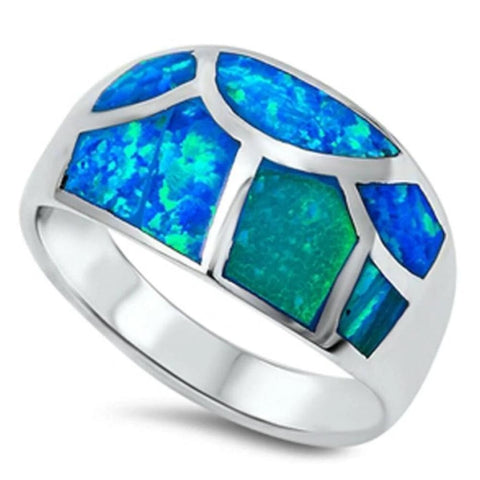 Image of Rings $75.16 Blue Opal in Mosaic Pattern Inlay Thumb Ring 50-100 badge-toprated blue opal rings