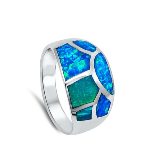 Rings $75.16 Blue Opal in Mosaic Pattern Inlay Thumb Ring blue opal