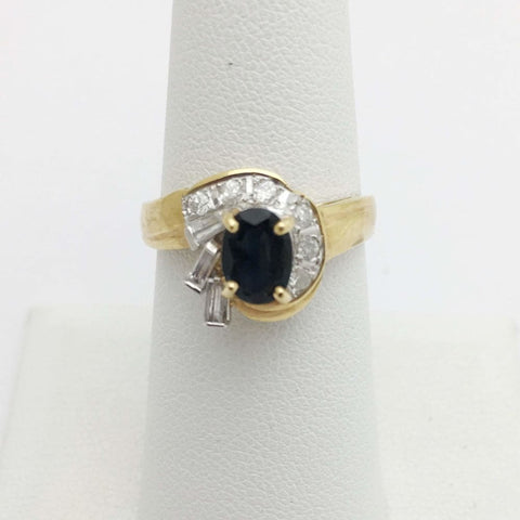 Rings $399.00 Blue Sapphire With Baguette And Round Diamonds Yellow Gold Ring Baguette Blue Oval Yg