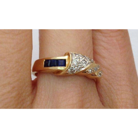 Image of Rings $399.00 Blue Sapphires And Diamonds Ring - 14K Yellow Gold Blue Yg
