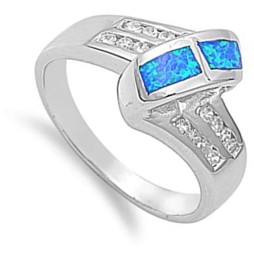 Rings $53.32 Blue Simulated Opal in Mosaic Pattern with Clear Cubic Zirconia Stones Set in Criss-Cross Band blue clear cubic-zirconia cz