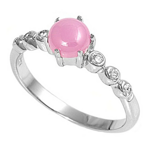 Image of Rings $30.64 Cabochon Pink Lab Opal with Round Clear Cubic Zirconia Stones Set in Sterling Silver Band Size 5-9 25-50 badge-toprated