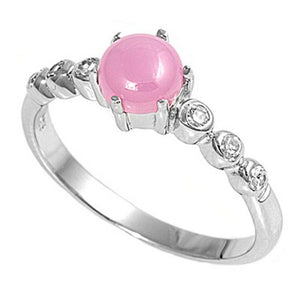 Cabochon Pink Lab Opal with Round Clear Cubic Zirconia Stones Set in Sterling Silver Band Size 5-9
