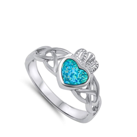 Image of Rings $30.53 Celtic Claddagh with a Heart-Shaped Blue Lab Opal Set in Sterling Silver Band Size 5-10 25-50 blue celtic claddagh opal