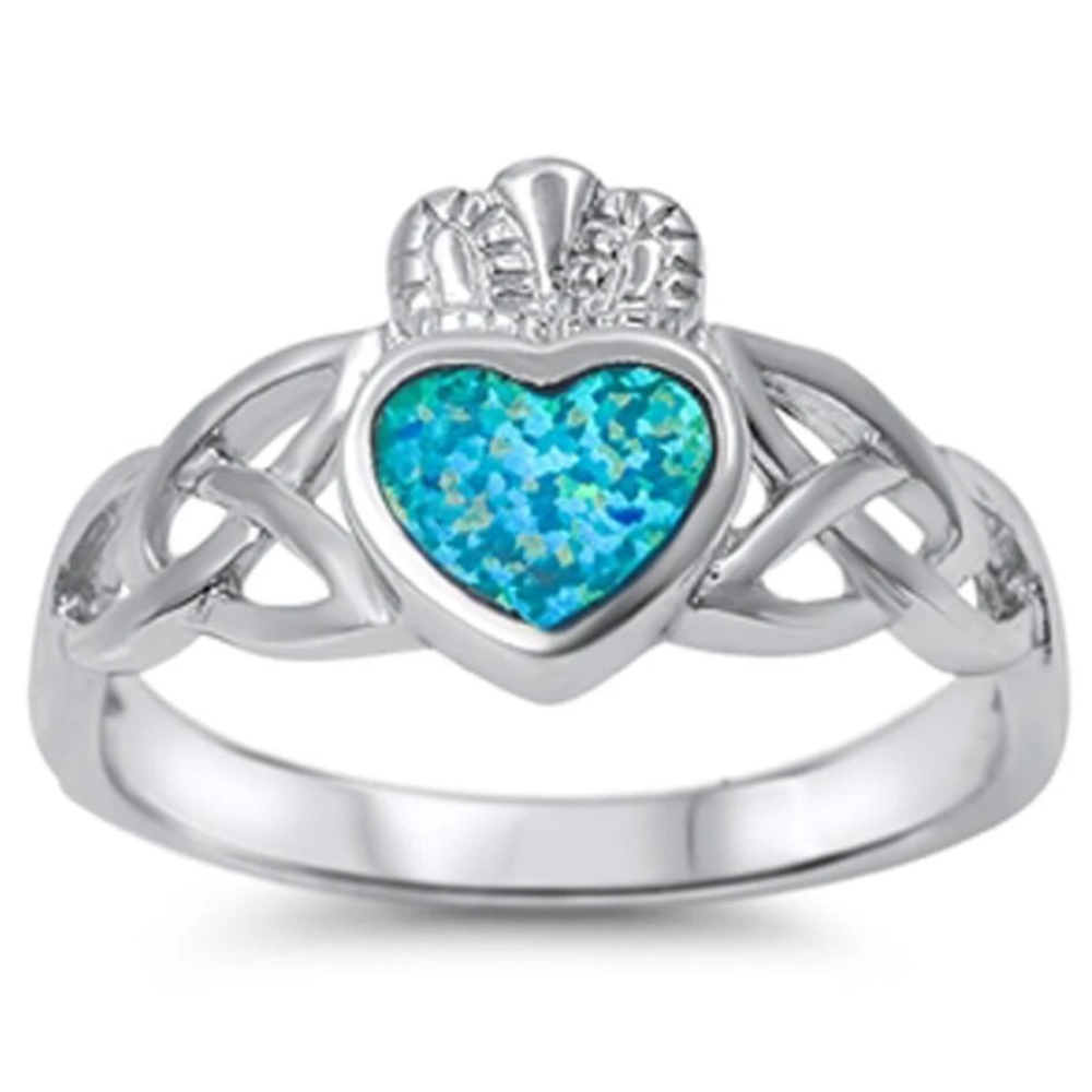 Rings $30.53 Celtic Claddagh with a Heart-Shaped Blue Lab Opal Set in Sterling Silver Band Size 5-10 25-50 badge-toprated blue celtic