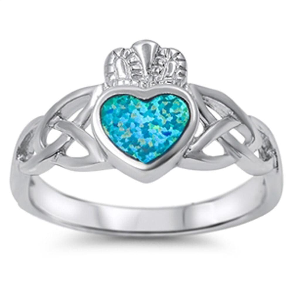 Rings $30.53 Celtic Claddagh with a Heart-Shaped Blue Lab Opal Set in Sterling Silver Band Size 5-10 25-50 blue celtic claddagh opal