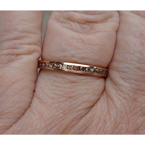 Image of Rings $499.00 Channel Set Chocolate Brown Diamond Band - 14K Rose Gold