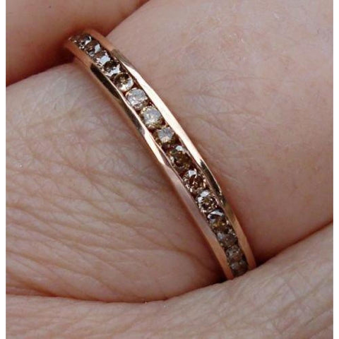 Rings $499.00 Channel Set Chocolate Brown Diamond Band - 14K Rose Gold