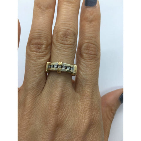 Image of Rings $399.00 Channel Set Diamond 2 Tone Gold Ring - 14K White And Yellow Gold Yg