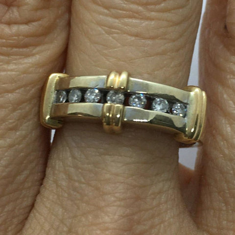 Rings $399.00 Channel Set Diamond 2 Tone Gold Ring - 14K White And Yellow Gold Yg