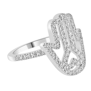 Chasmal Hand with Heart - Hasma Palm CZ Hand of God Ring by CZ Sparkle Jewelry®