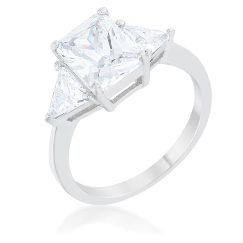Image of Rings $43.70 Classic 3 Stone Emerald Cut with Trillion Triangle Cut CZ Sterling Silver Engagement Ring JGI 25-50 clear cubic-zirconia cz