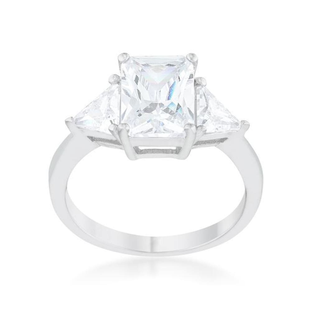 Rings $43.70 Classic 3 Stone Emerald Cut with Trillion Triangle Cut CZ Sterling Silver Engagement Ring JGI 25-50 clear cubic-zirconia cz