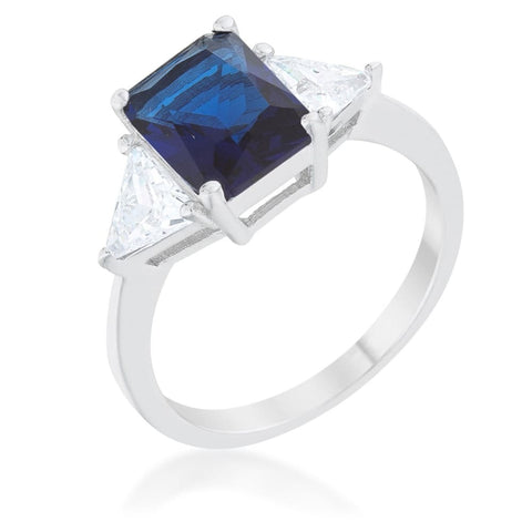 Rings $42.40 Classic Blue Sterling Silver 3 Stone Emerald Cut and Trillion Cut Sides Engagement Ring JGI 25-50 3 stone 4-carat blue