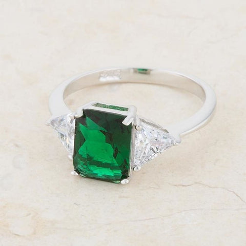 Rings $42.40 Classic Emerald Green Sterling Silver Engagement Ring