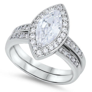 Classic Marquise Halo Matched Bridal Engagement Wedding Ring Set in Sterling Silver