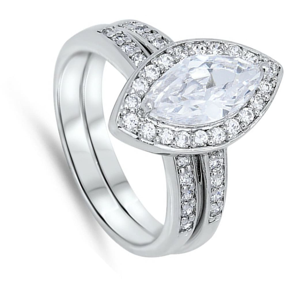 Cz Sparkle Jewelry Rings 57 78 Free Shipping Classic Marquise Halo Matched Bridal Engagement