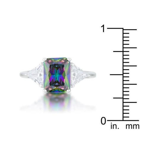 Rings $45.00 Classic Mystic Topaz Colored 3 Stone Sterling Silver Engagement Ring Cz Purple